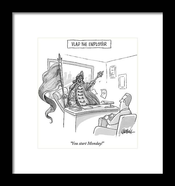 Monday Framed Print featuring the drawing Vlad The Employer by Jason Chatfield