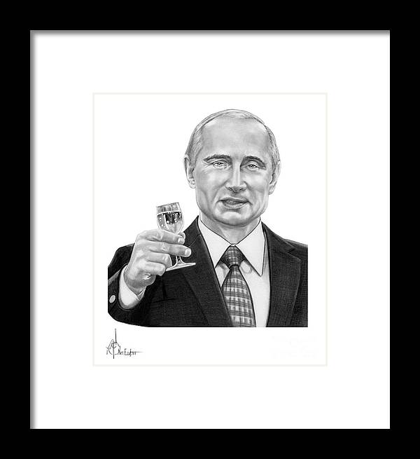 Pencil Framed Print featuring the drawing Vladimir Putin by Murphy Elliott
