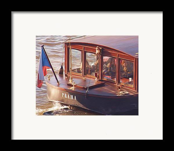 River Boat Framed Print featuring the painting Vltava River Boat by Shawn Wallwork