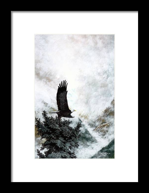Eagle Framed Print featuring the painting Voice Of The Eagle Reaches Toward The Heavens by Bob Patterson
