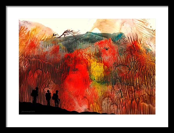 Abstract Framed Print featuring the painting Volcano by Jola Mroszczyk