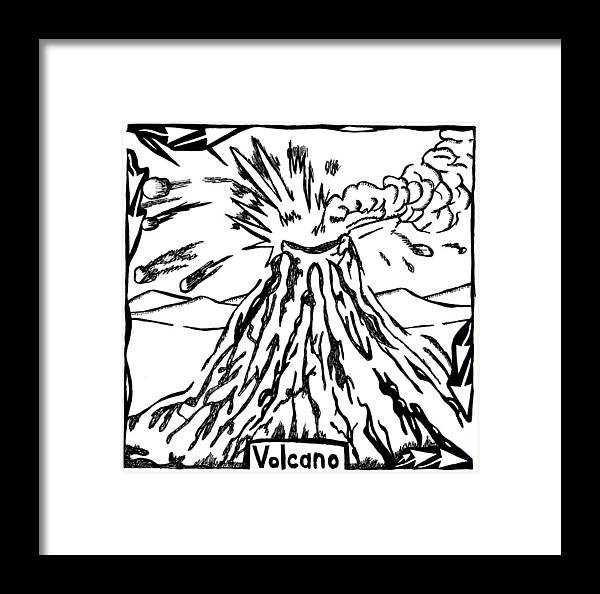 Volcano Framed Print featuring the drawing Volcano Maze by Yonatan Frimer Maze Artist