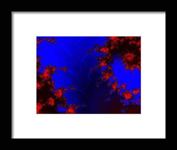 Lava Flow Wind Rythm Volcano Red Blue Framed Print featuring the digital art Volcano by Veronica Jackson