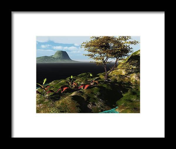 3d Render 3 Dimensional Art Framed Print featuring the digital art Volcano View by David Lane