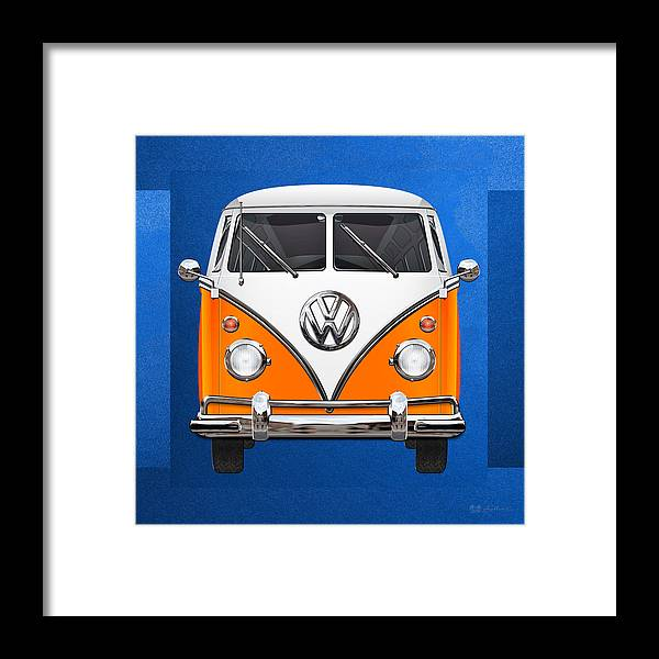 'volkswagen Type 2' Collection By Serge Averbukh Framed Print featuring the photograph Volkswagen Type - Orange And White Volkswagen T 1 Samba Bus Over Blue Canvas by Serge Averbukh