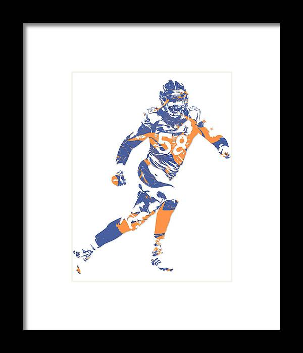 Von Miller Denver Broncos Pixel Art 11 Framed Print by Joe Hamilton