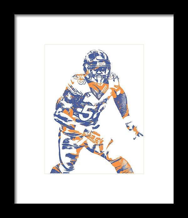 Von Miller Denver Broncos Pixel Art 20 Framed Print by Joe Hamilton