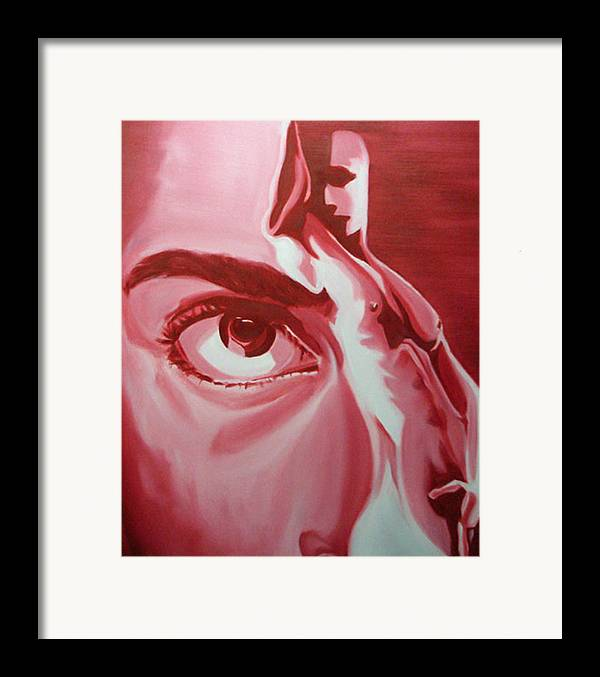 Nude Erotic Portrait Figurative Abstract Red Hot Voyeurism Framed Print featuring the painting Voyeur And Exhibitionist by Davinia Hart