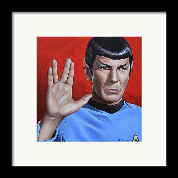Spock Framed Print featuring the painting Vulcan Farewell by Kim Lockman
