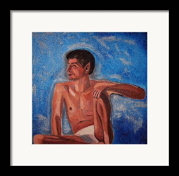 Nude Framed Print featuring the painting Vulcan by Michael Lewis