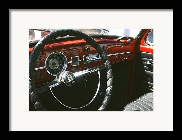Beetle Car Interior Framed Print featuring the photograph Vw Beetle Interior by Georgia Fowler