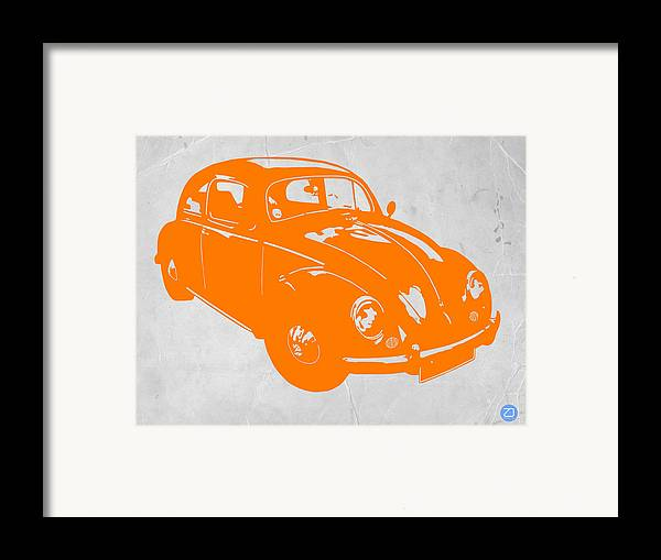 Framed Print featuring the photograph Vw Beetle Orange by Naxart Studio