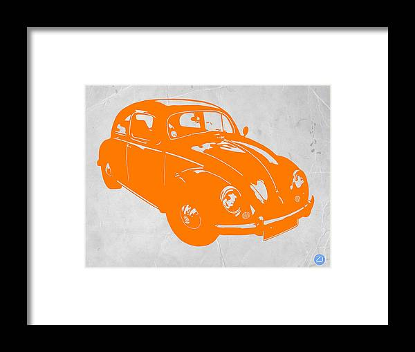 Vw Beetle Framed Print featuring the photograph Vw Beetle Orange by Naxart Studio