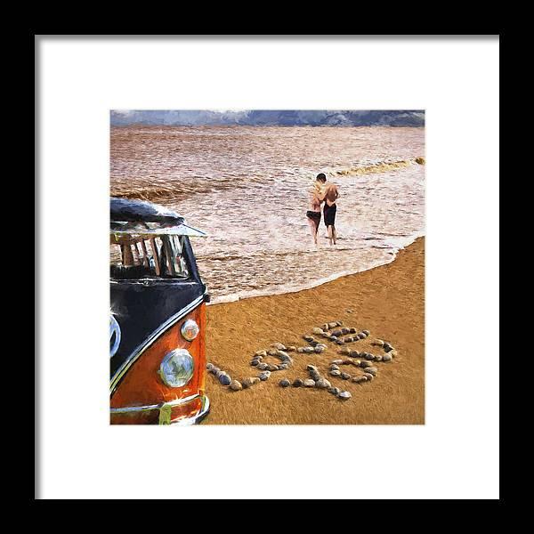 Sandy Framed Print featuring the digital art Vw Love On Beach by Martin Fry