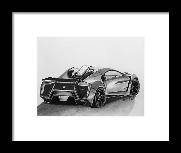 Sportscar Framed Print featuring the drawing W Motors Lykan Hypersport by Omari Slaughter