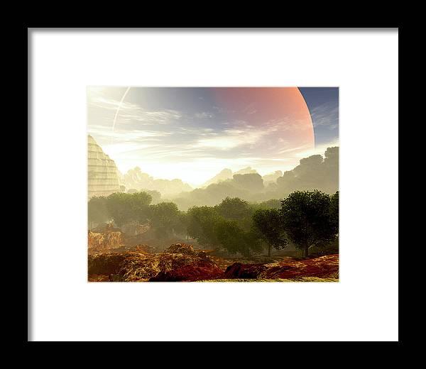 Terragen Framed Print featuring the digital art Wada's Red Moon by Napo Bonaparte