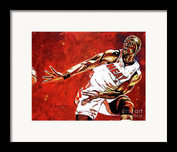 Dwyane Wade Framed Print featuring the painting Wade Passes by Maria Arango