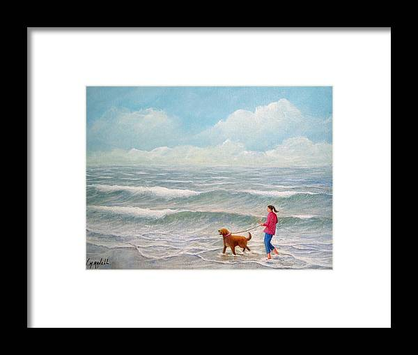 Seascape Framed Print featuring the painting Wading With Willy by William H RaVell III