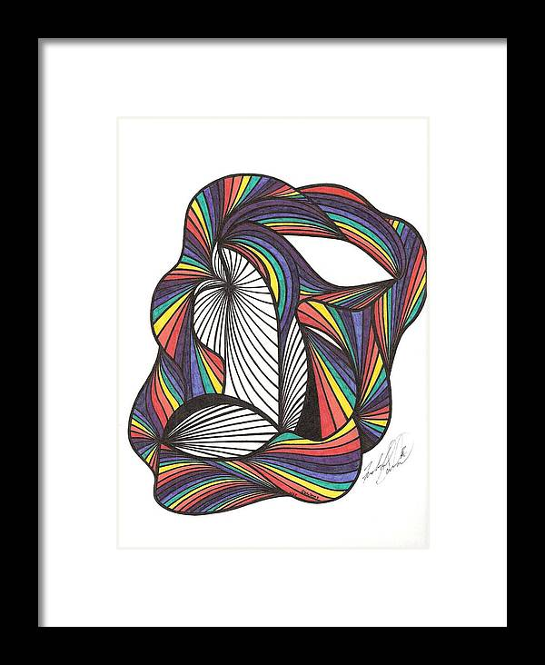 Abstract Framed Print featuring the drawing WAE by Freda Garland