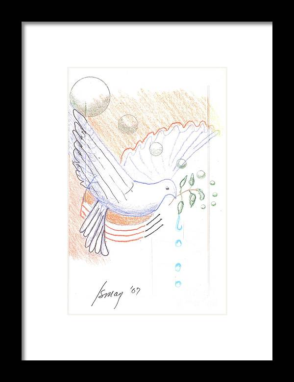 Orbs Framed Print featuring the drawing Wage Peace by Rod Ismay