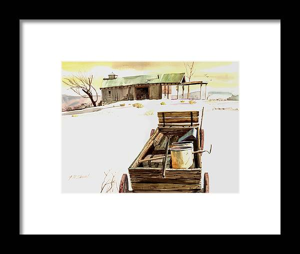 Watercolor Framed Print featuring the painting Wagon At White Sands by John Norman Stewart