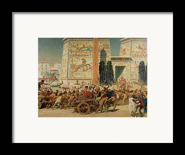 Temple Framed Print featuring the painting Wagons Detail From Israel In Egypt by Sir Edward John Poynter