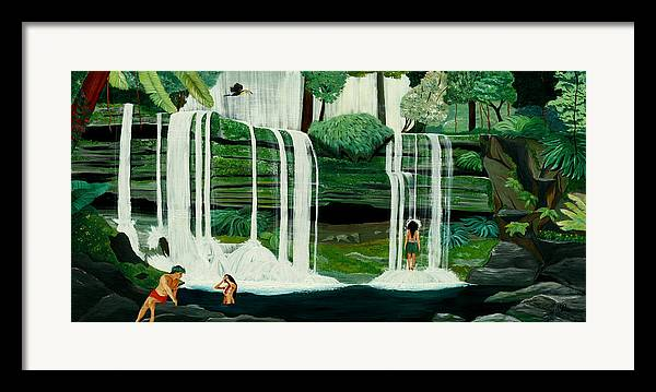 Tiki Art Framed Print featuring the painting Wahines In Waterfall by Julie Pflanzer