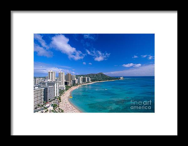 Aerial Framed Print featuring the photograph Waikiki And Diamond Head by William Waterfall - Printscapes