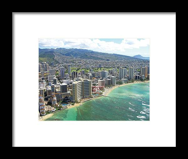 Hawaii Framed Print featuring the photograph Waikiki From The Air by Tracy Hayden