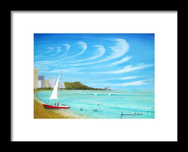 Waikiki Framed Print featuring the painting Waikiki by Jerome Stumphauzer