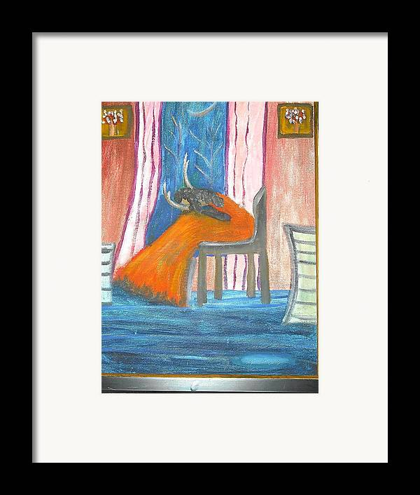 Abstract Framed Print featuring the painting Wailing Woman by Betty Abrams