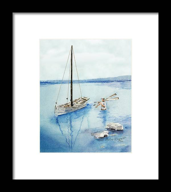 Boat Framed Print featuring the painting Waist Deep by Arline Wagner