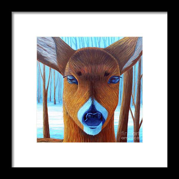 Deer Framed Print featuring the painting Wait For The Magic by Brian Commerford