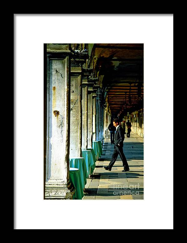 San Marco Framed Print featuring the photograph Waiter Walking at San Marco in Venice by Michael Henderson