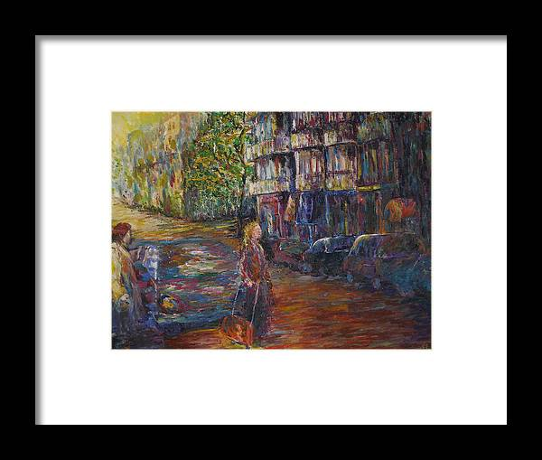 People Framed Print featuring the painting Waiting - New York by Wendy Chua
