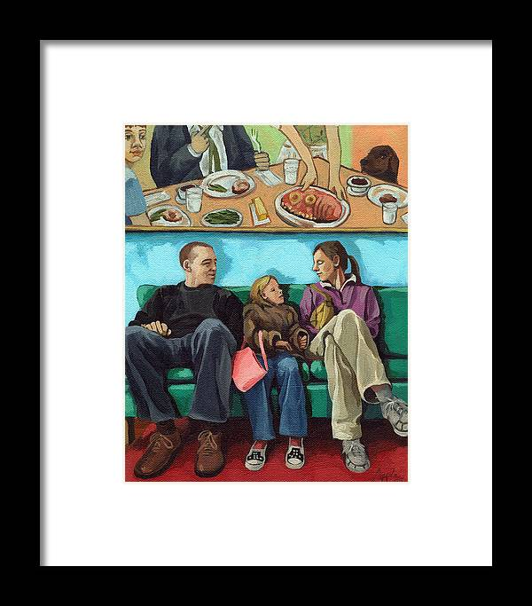 Diner Framed Print featuring the painting Waiting At The Diner by Linda Apple