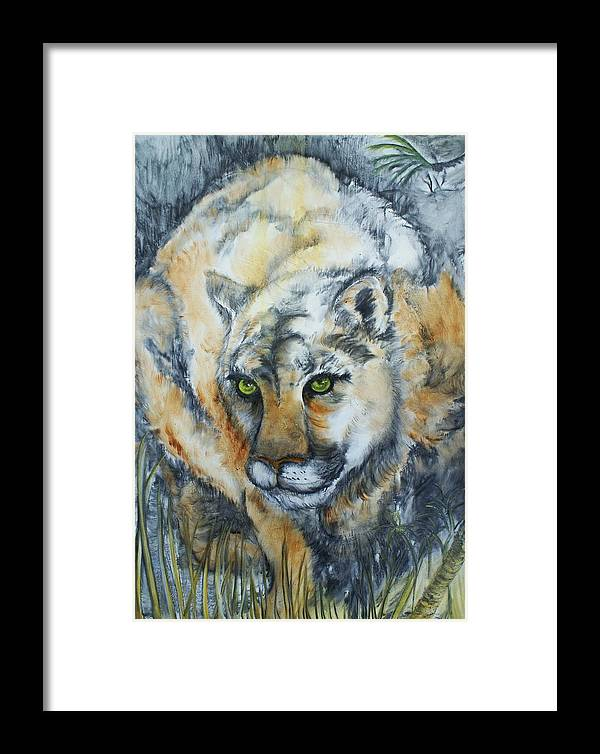 Cat Framed Print featuring the painting Waiting... by Elsa Zarduz
