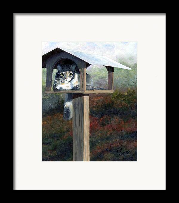 Cat Framed Print featuring the painting Waiting For Dinner by Pat Burns
