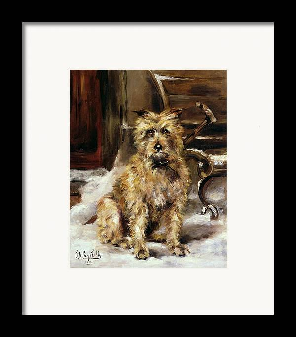 Waiting Framed Print featuring the painting Waiting For Master  by Jane Bennett Constable