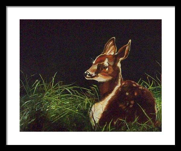 Deer Framed Print featuring the painting Waiting For Mom by Audrie Sumner