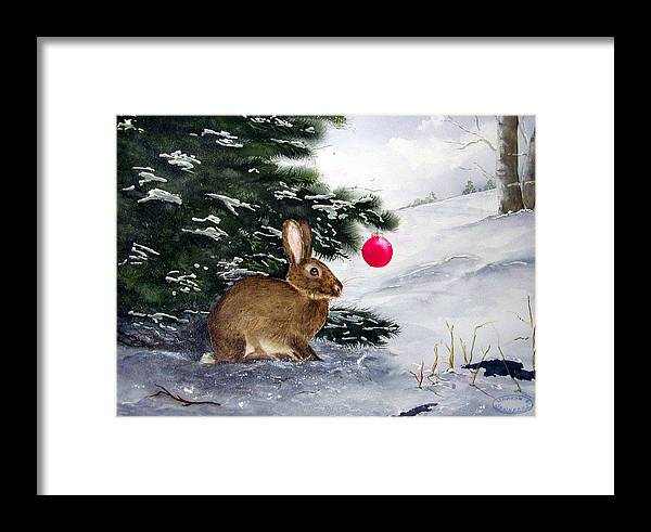 Bunny Framed Print featuring the painting Waiting For Santa by Sharon Steinhaus