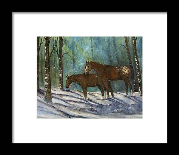 Horses Framed Print featuring the painting Waiting For Spring by Darla Joy Johnson