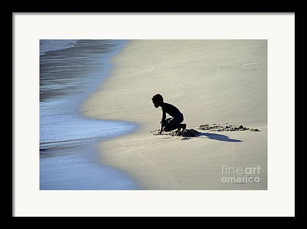 Boy Framed Print featuring the photograph Waiting For The Next Wave by Carlos Alvim