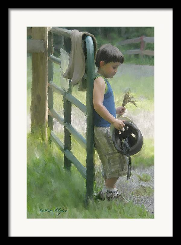 Pony Framed Print featuring the painting Waiting For The Pony by Elzire S