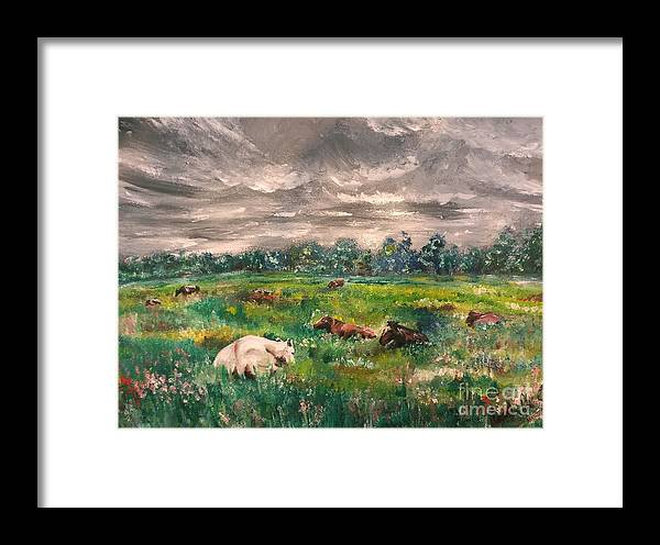 Animal Framed Print featuring the painting Waiting For The Rain by Abbie Shores