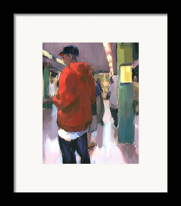 New York Framed Print featuring the painting Waiting For The Uptown 1 by Merle Keller