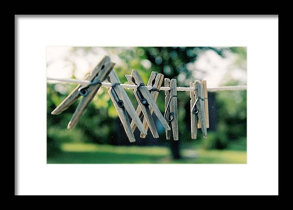 Clothes Pins Framed Print featuring the photograph Waiting For Work by Lauri Novak