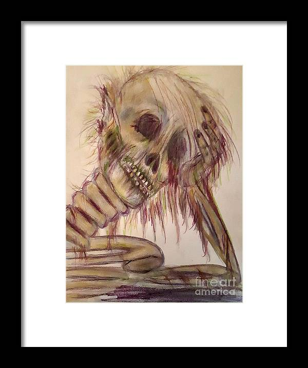 Colour Pencil Framed Print featuring the drawing Waiting forever...... by Lisa Koyle