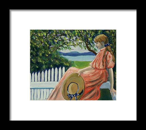 Seated Figure Framed Print featuring the painting Waiting by Helen O Hara