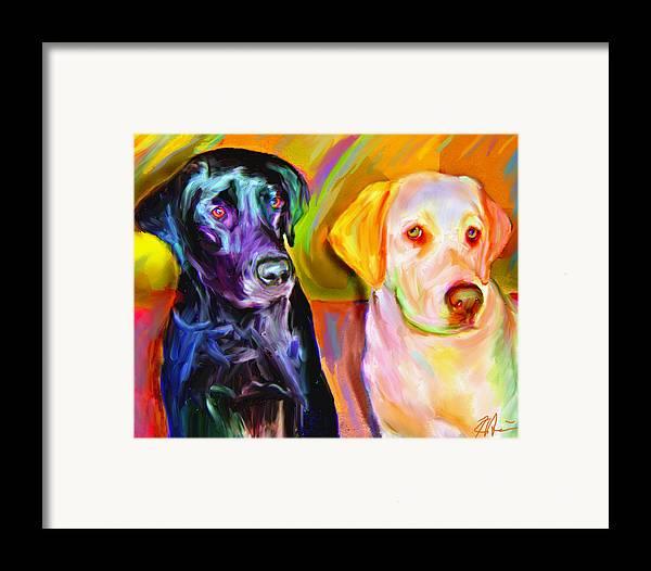 Labradors Framed Print featuring the digital art Waiting by Karen Derrico